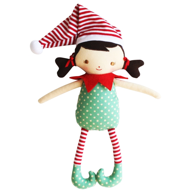 N10533GR Cheeky Girl Elf Toy Rattle Green Red_1024 X 1024